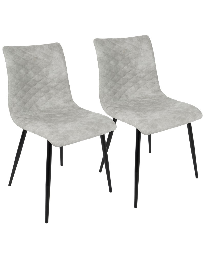 Eastwood Industrial Dining/Accent Chair in Grey Faux - Set of 2