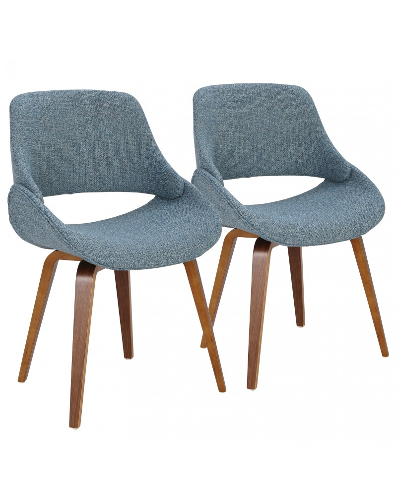 Fabrico Mid-Century Modern Dining/Accent Chair in Walnut and Blue Noise Fabric - Set of 2