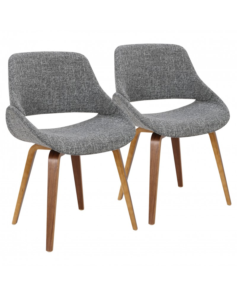 Fabrico Mid-Century Modern Dining/Accent Chair in Walnut and Grey Noise Fabric - Set of 2