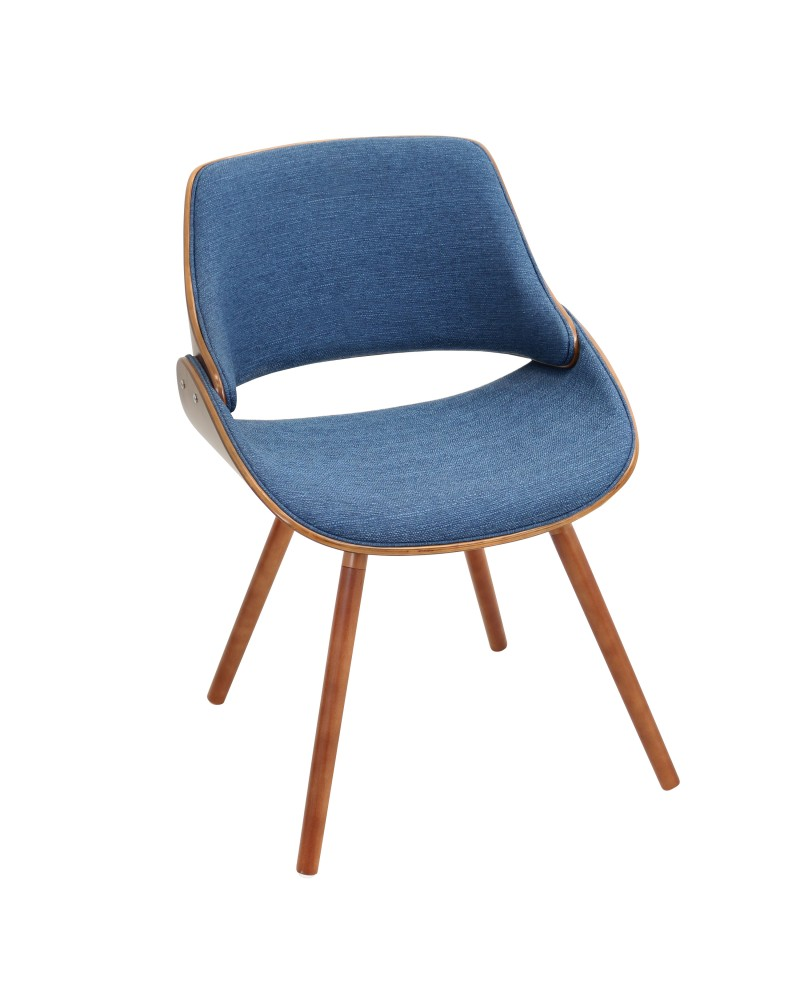 Fabrizzi Mid-Century Modern Dining/Accent Chair in Walnut and Denim Blue