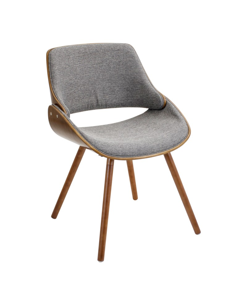 Fabrizzi Mid-Century Modern Dining/Accent Chair in Walnut and Grey Fabric