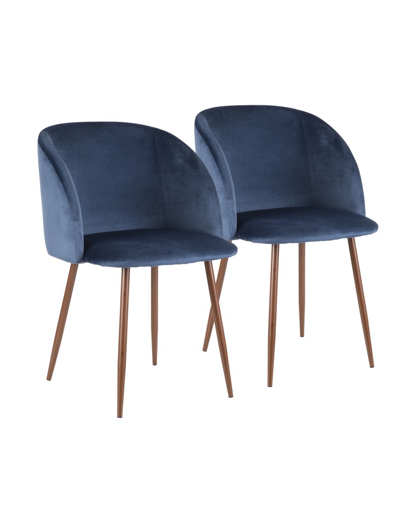 Fran Contemporary Dining Chair in Walnut and Blue Velvet - Set of 2