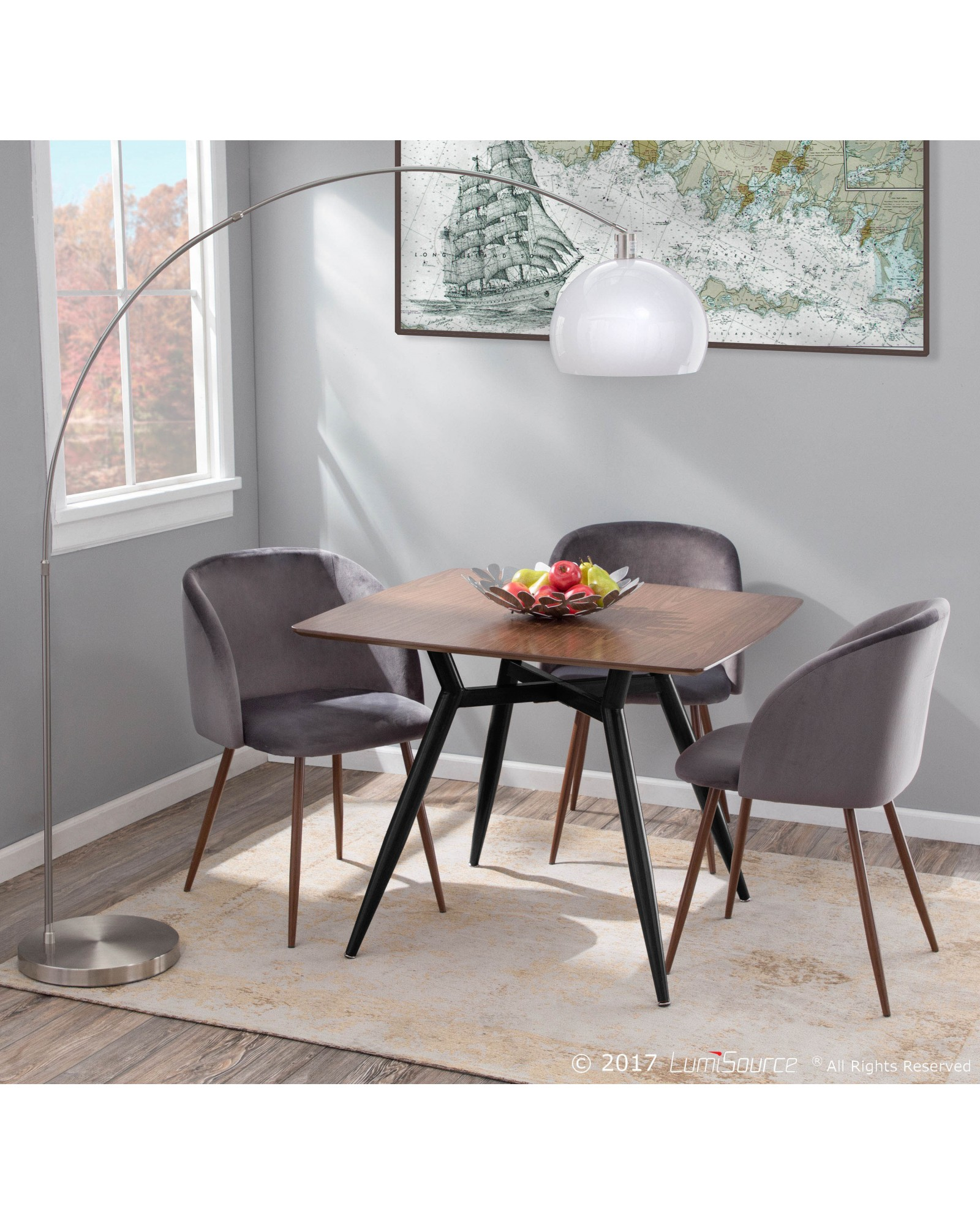 Fran Contemporary Dining/Accent Chair in Walnut with Grey Velvet - Set of 2