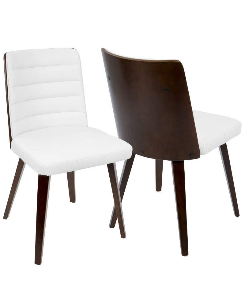 Francesca Mid-Century Modern Dining/Accent Chair in Cherry Wood and White Faux Leather