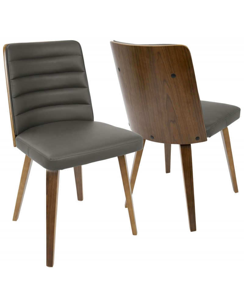 Francesca Mid-Century Modern Dining/Accent Chair in Walnut Wood and Grey Faux Leather