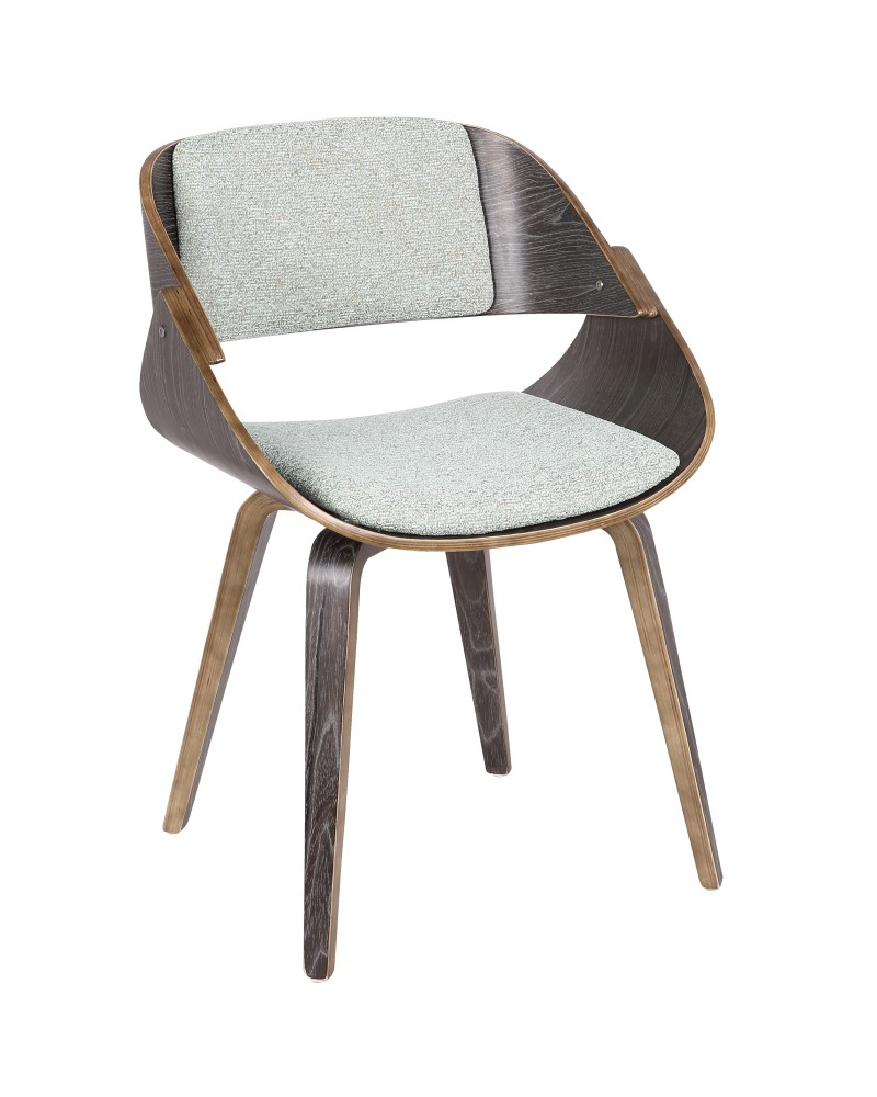 Fortunato Mid-Century Modern Dining/Accent Chair in Dark Grey Wood with Green Fabric