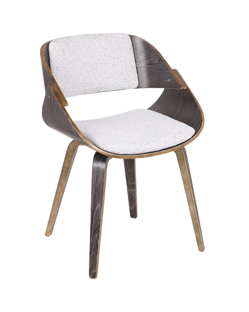 Fortunato Mid-Century Modern Dining/Accent Chair in Dark Grey Wood with White Fabric