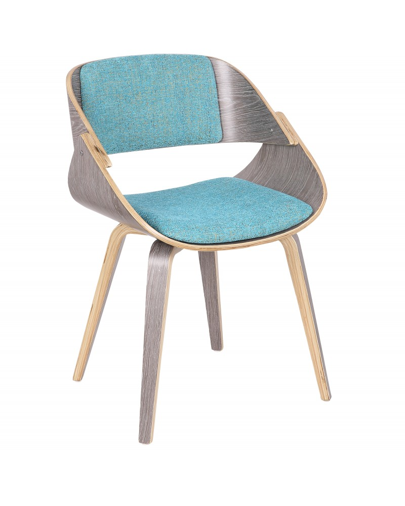 Fortunato Mid-Century Modern Dining/Accent Chair in Light Grey Wood with Aqua Fabric