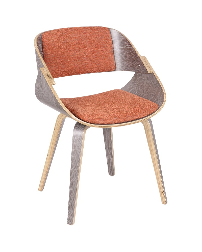 Fortunato Mid-Century Modern Dining/Accent Chair in Light Grey Wood with Orange Fabric