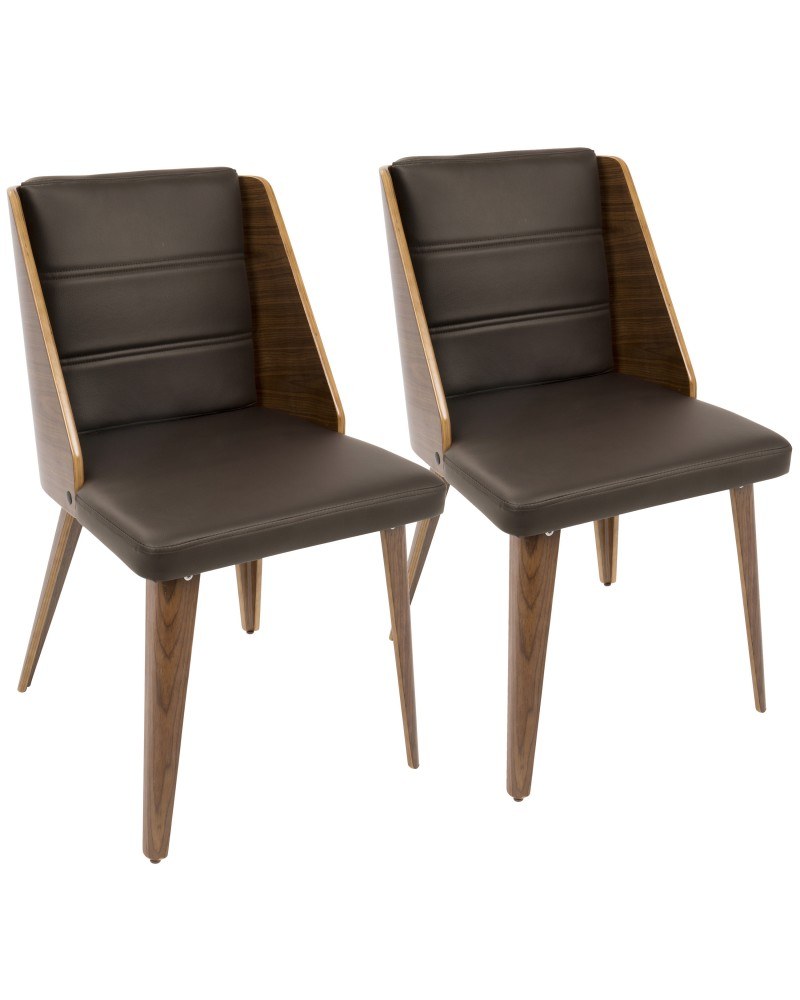 Galanti Mid-Century Modern Dining/Accent Chair in Walnut Wood and Brown Faux Leather - Set of 2