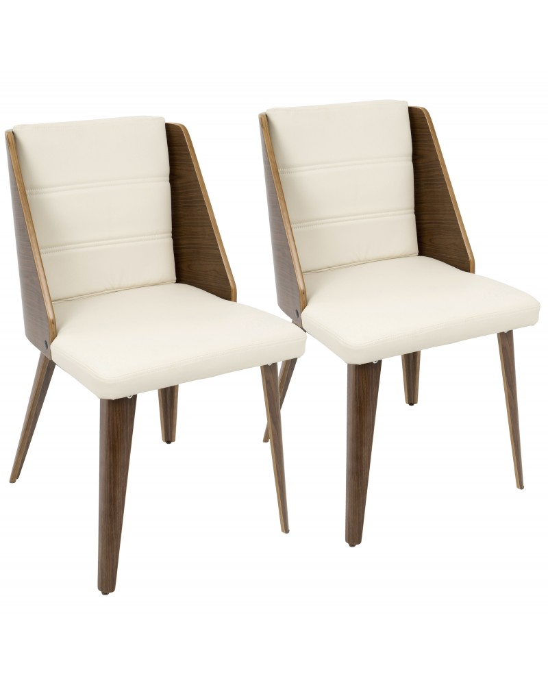 Galanti Mid-Century Modern Dining/Accent Chair in Walnut Wood and Cream Faux Leather - Set of 2