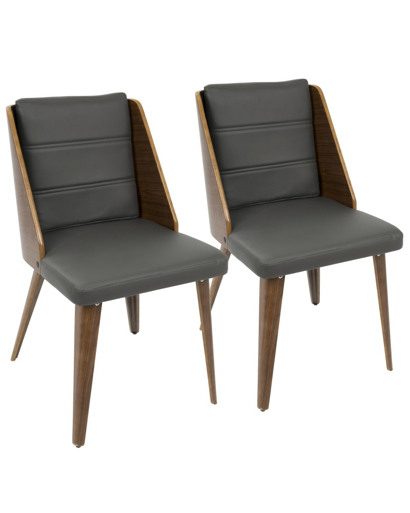 Galanti Mid-Century Modern Dining/Accent Chair in Walnut Wood and Grey Faux Leather - Set of 2