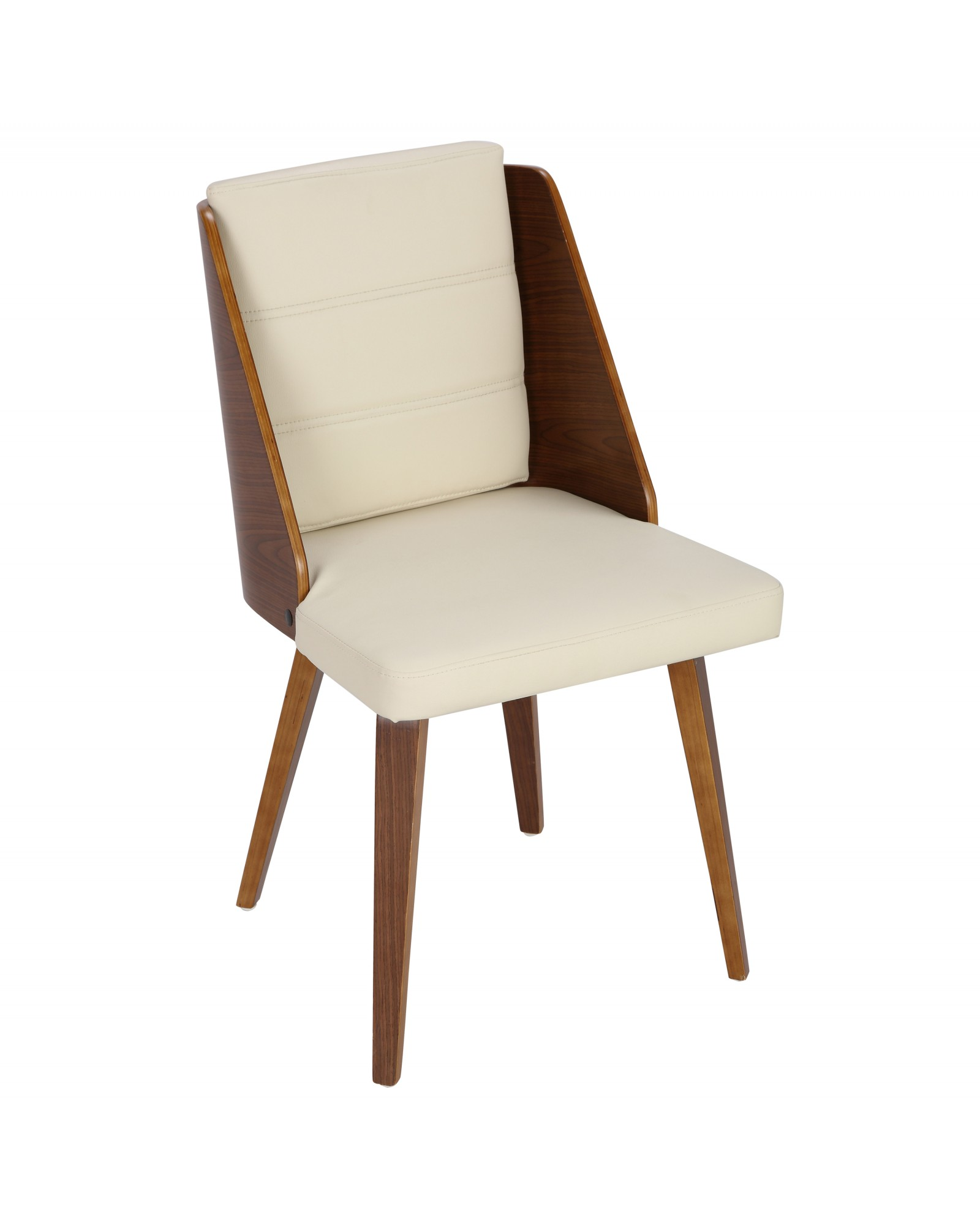 Galanti Mid-Century Modern Dining/Accent Chair in Walnut and Cream Faux Leather - Set of 2