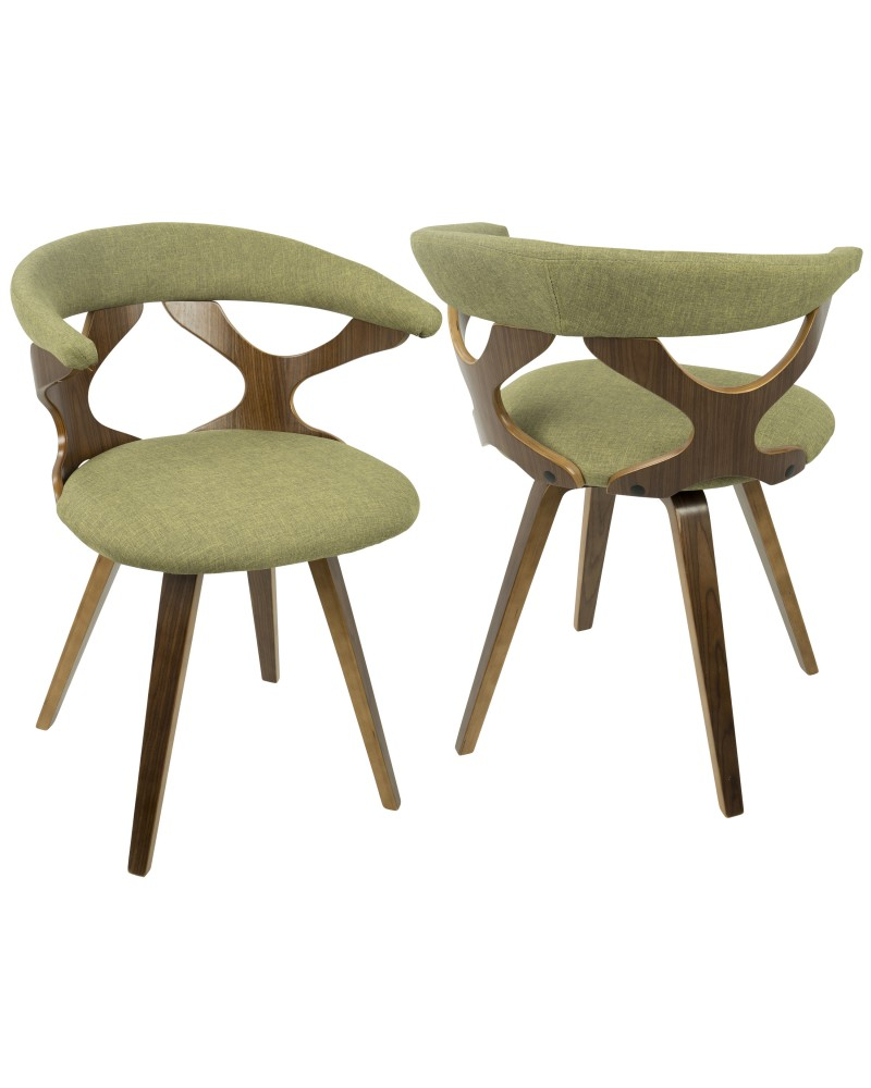 Gardenia Mid-Century Modern Dining/Accent Chair with Swivel in Walnut Wood and Green Fabric