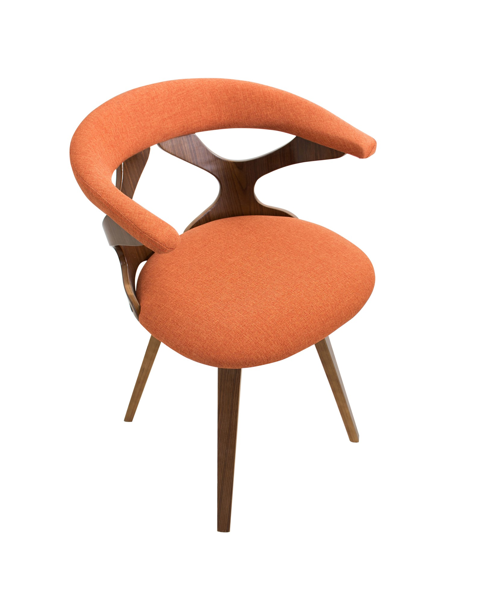 Gardenia Mid-century Modern Dining/Accent Chair with Swivel in Walnut Wood and Orange Fabric