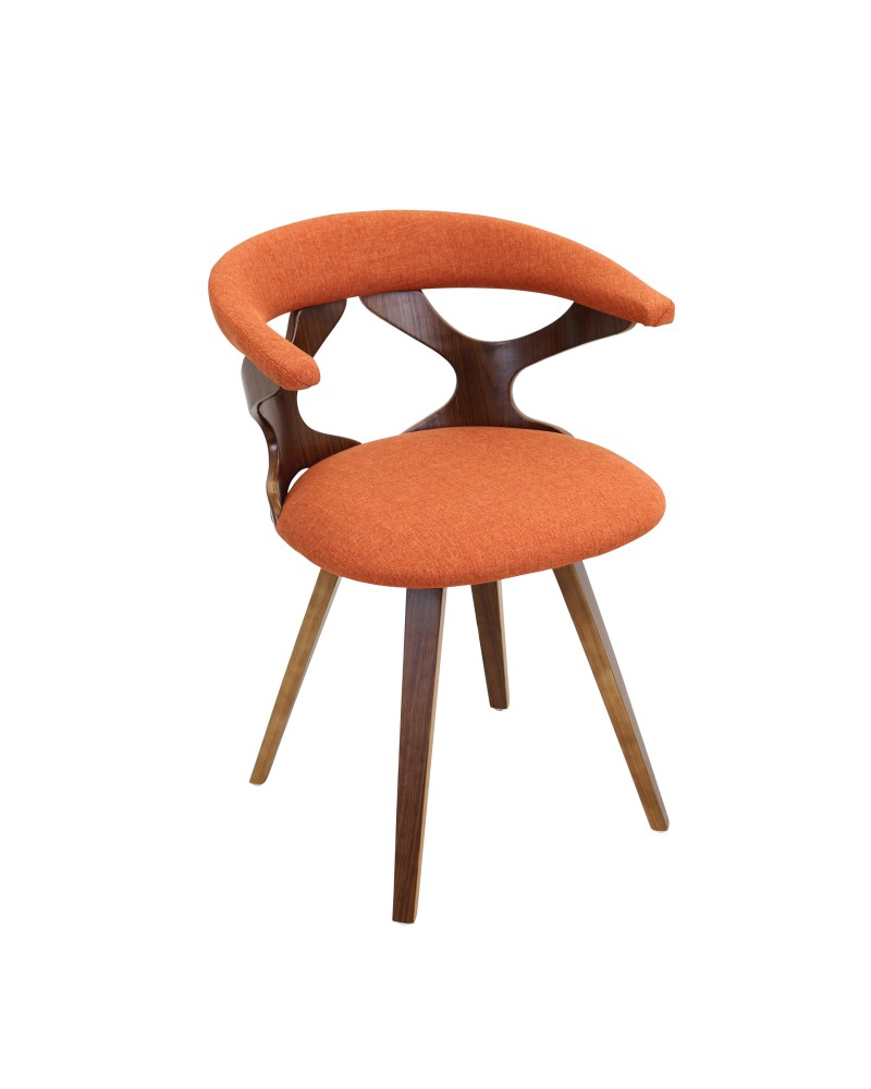 Gardenia Mid Century Modern Dining Accent Chair With Swivel In Walnut Wood And Orange