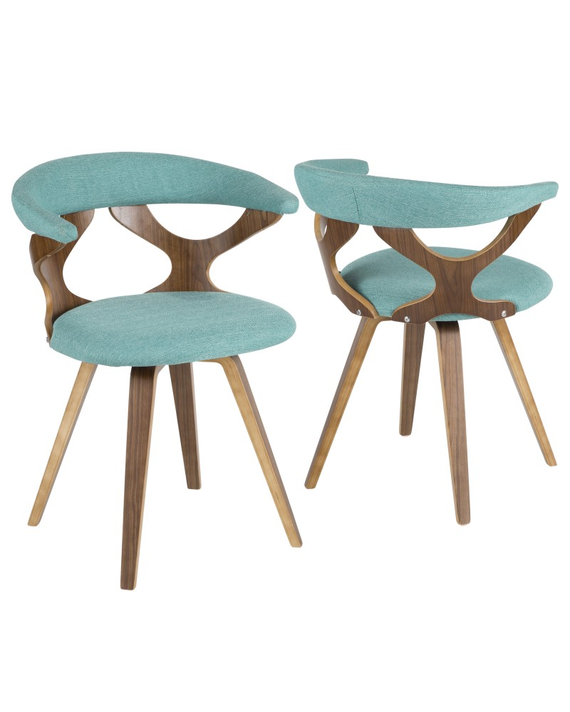 Gardenia Mid-Century Modern Dining/Accent Chair with Swivel in Walnut Wood and Teal Fabric