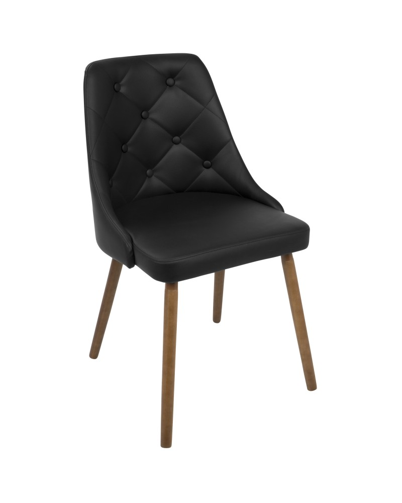 Giovanni Mid-Century Modern Dining/Accent Chair in Walnut and Black Quilted Faux Leather