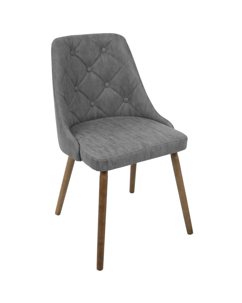 Giovanni Mid-Century Modern Dining/Accent Chair in Walnut and Grey Quilted Faux Leather