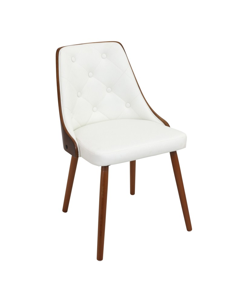 Gianna Mid-Century Modern Dining/Accent Chair in Walnut with White Faux Leather
