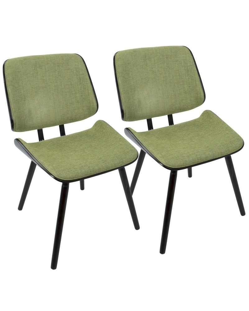Lombardi Mid-Century Modern Dining/Accent Chair in Espresso with Green Fabric - Set of 2