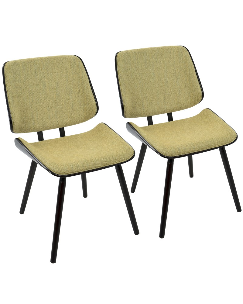 Lombardi Mid-Century Modern Dining/Accent Chair in Espresso with Yellow Fabric - Set of 2