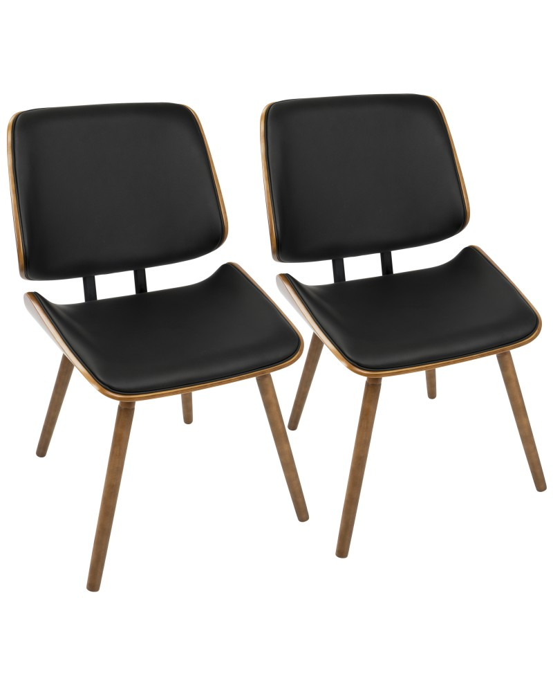 Lombardi Mid-Century Modern Dining/Accent Chair in Walnut with Black Faux Leather - Set of 2