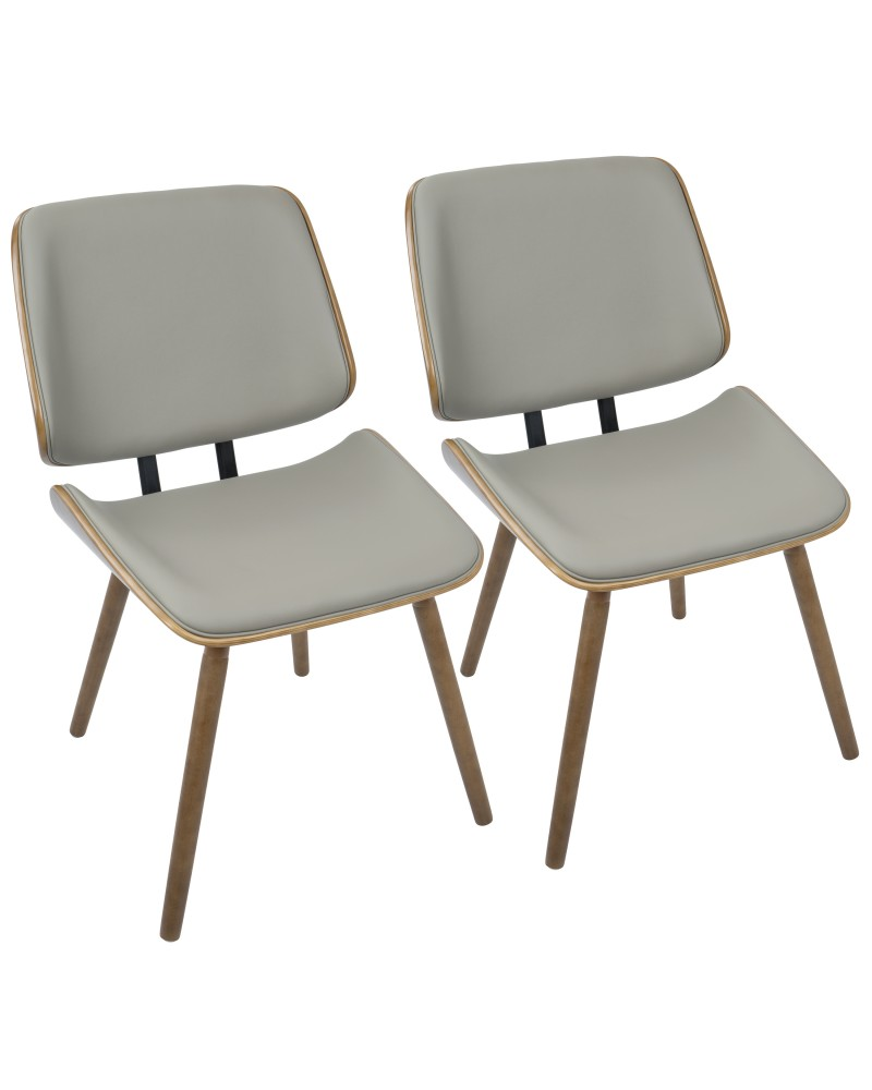Lombardi Mid-Century Modern Dining/Accent Chair in Walnut with Grey Faux Leather - Set of 2