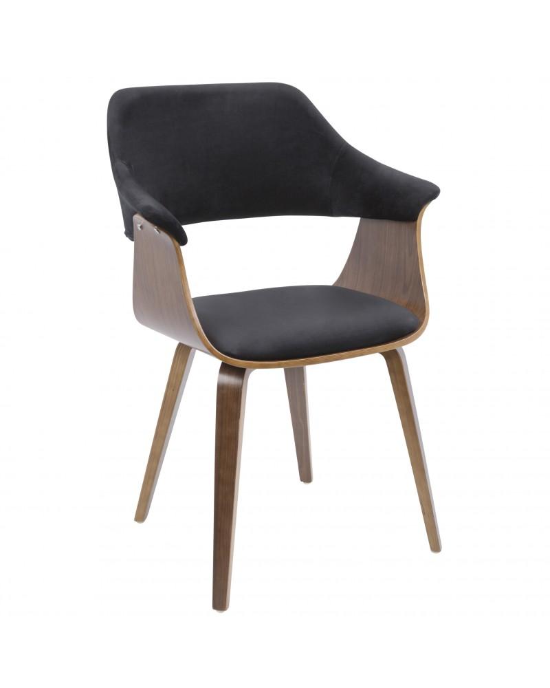 Lucci Mid-Century Modern Chair in Walnut and Black Velvet