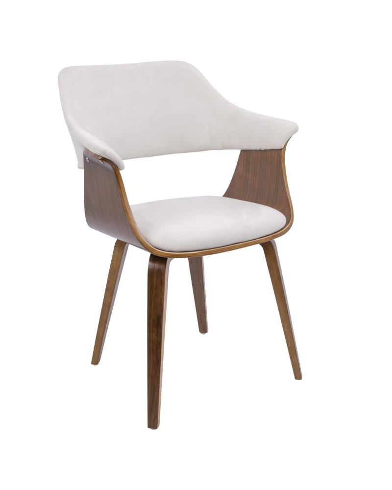 Lucci Mid-Century Modern Chair in Walnut and Cream Velvet