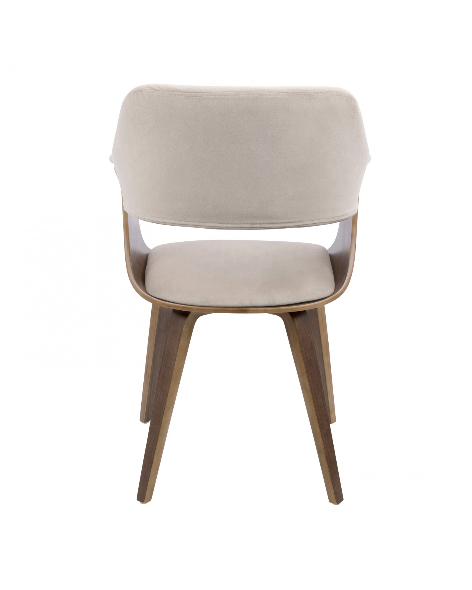 Lucci Mid-Century Modern Chair in Walnut and Tan Velvet