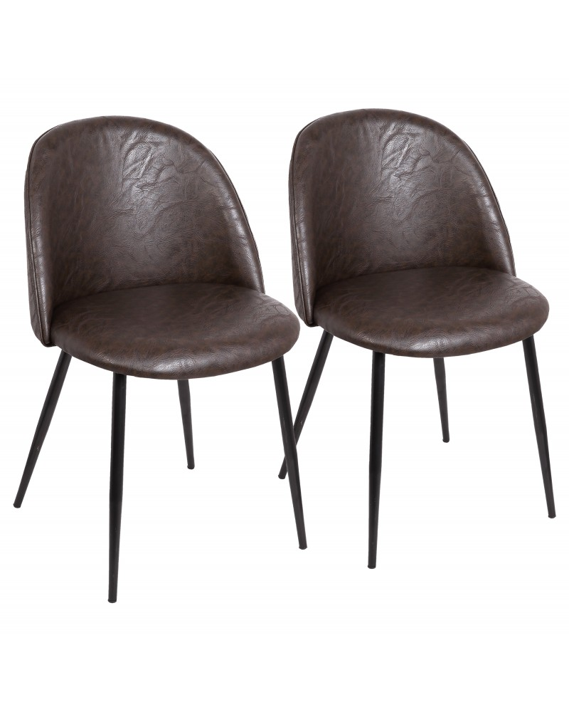 Luna Contemporary Dining/Accent Chair in Black with Brown Faux Leather - Set of 2