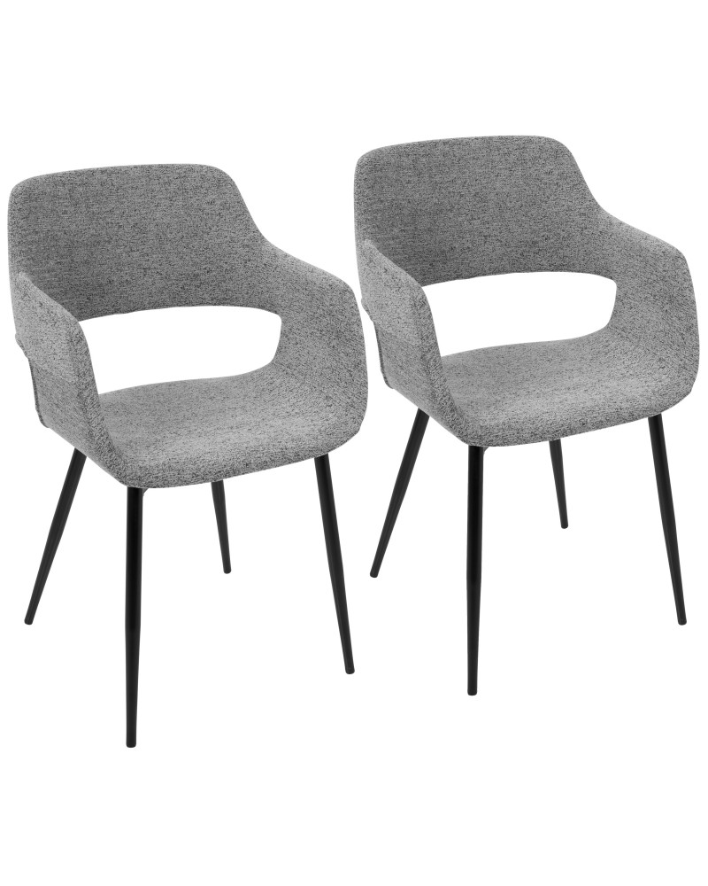 Margarite Mid-Century Modern Dining/Accent Chair in Black with Grey Fabric - Set of 2