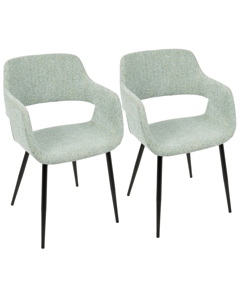 Margarite Mid-Century Modern Dining/Accent Chair in Black with Light Green Fabric - Set of 2
