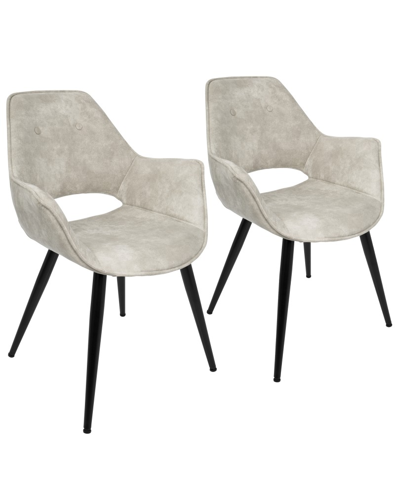 Mustang Contemporary Dining/Accent Chair in Beige - Set of 2
