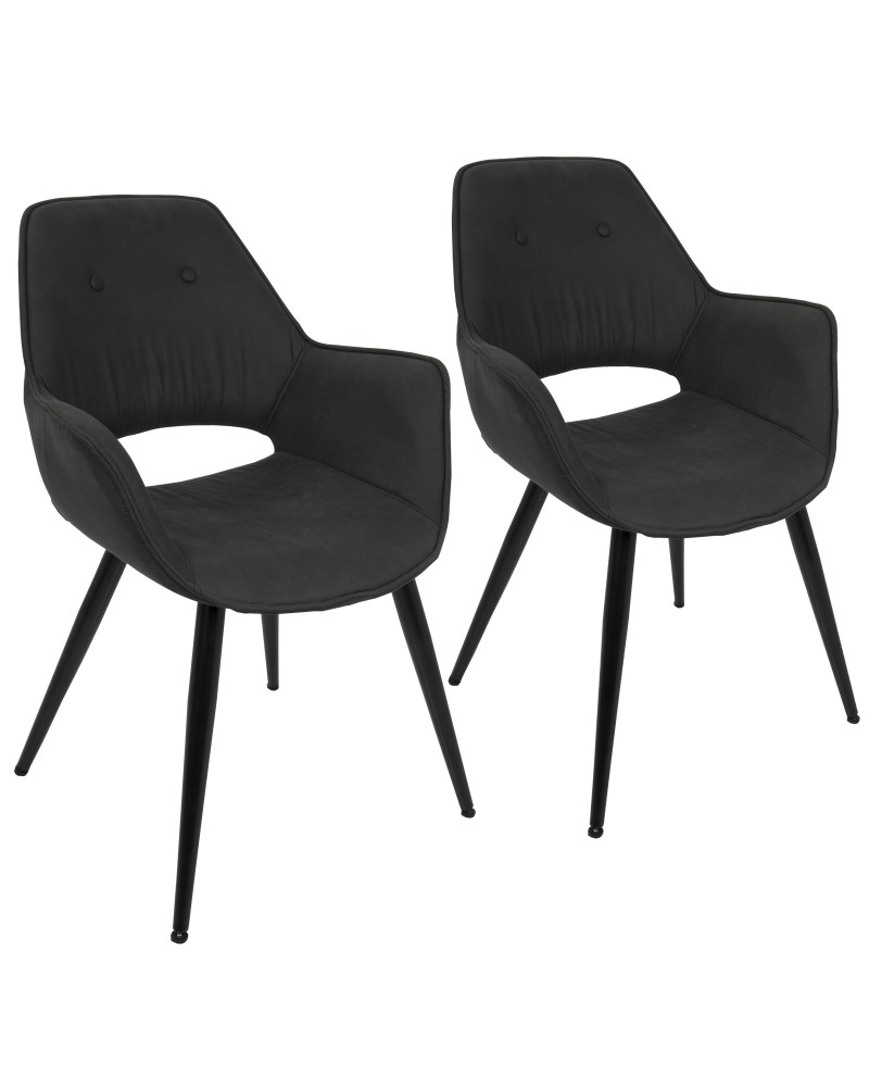 Mustang Contemporary Dining/Accent Chair in Black - Set of 2