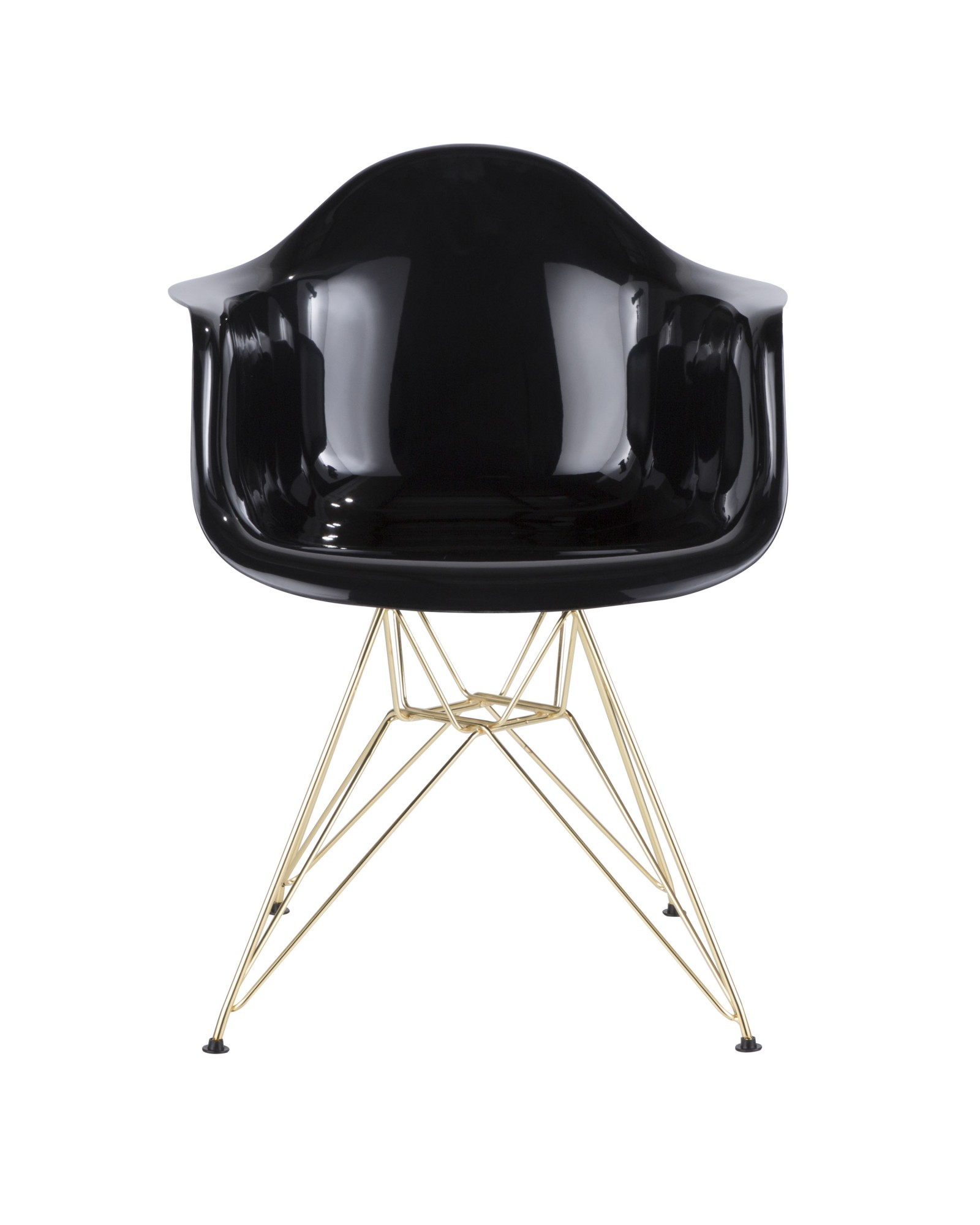 Neo Flair Contemporary Dining/Accent Chair in Black and Gold