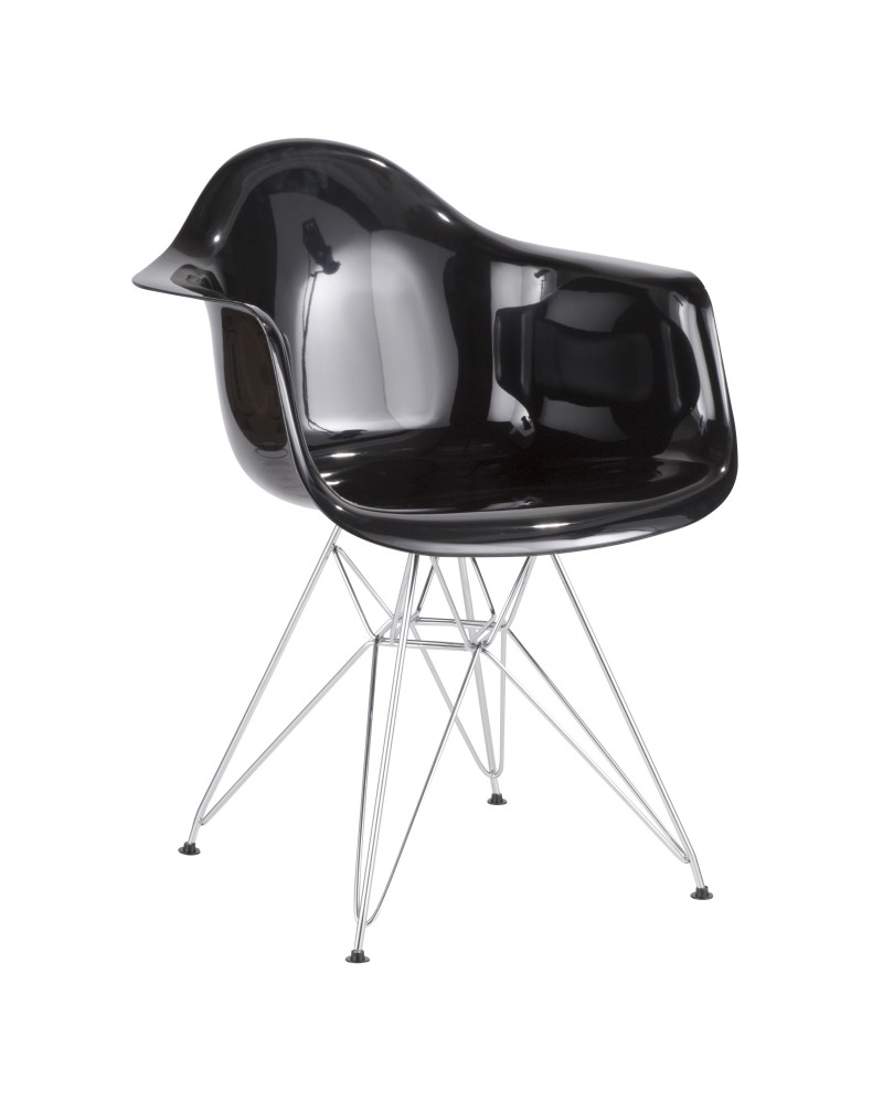 Neo Flair Contemporary Dining/Accent Chair in Black and Chrome
