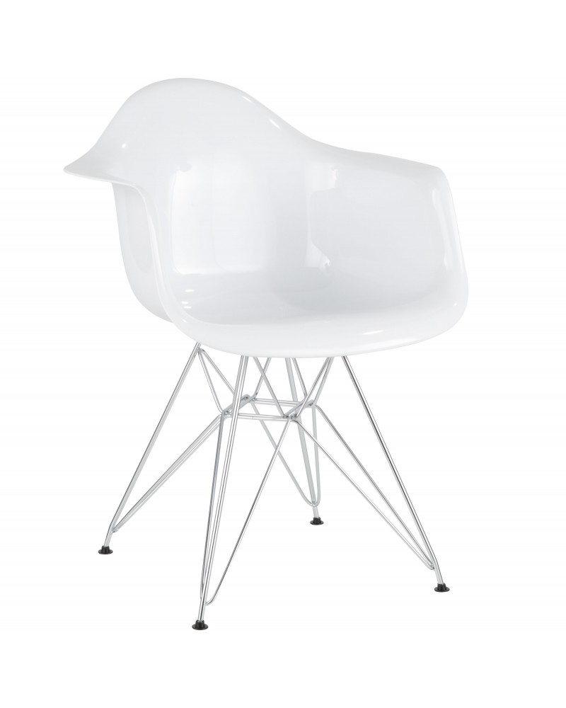 Neo Flair Contemporary Dining/Accent Chair in White and Chrome