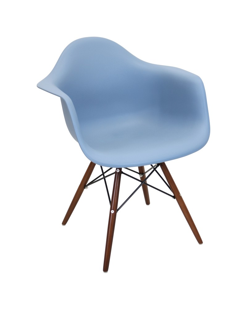 Neo Flair Mid-Century Modern Chair in Bleu Slate and Espresso - Set of 2