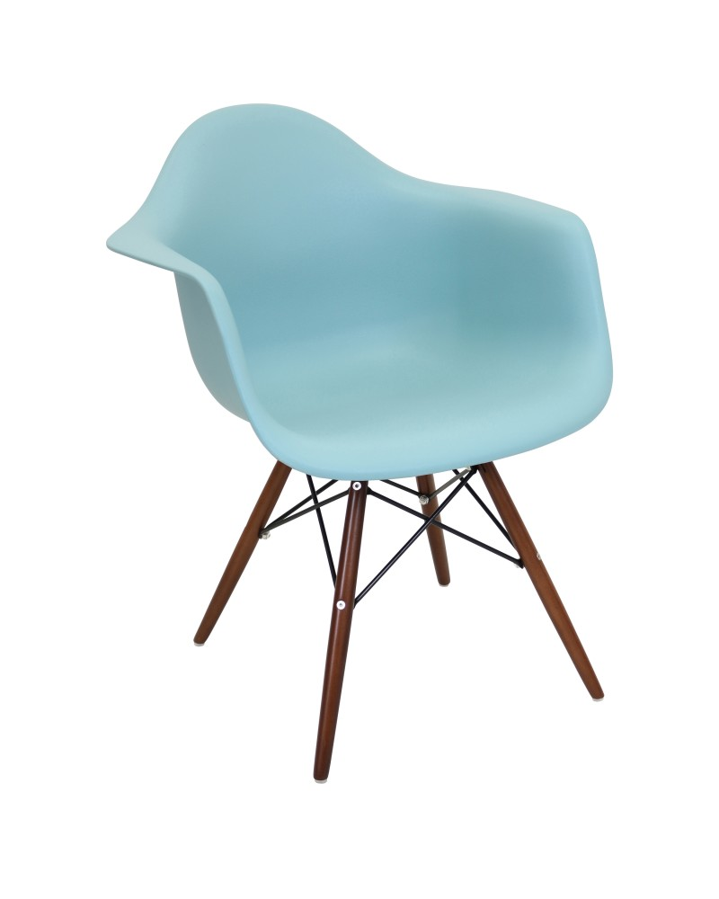 Neo Flair Mid-Century Modern Chair in Sea Green and Espresso - Set of 2