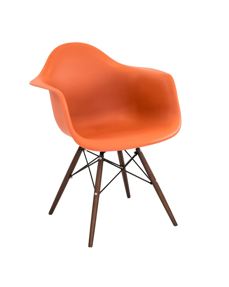 Neo Flair Mid-Century Modern Chair in Orange and Espresso - Set of 2