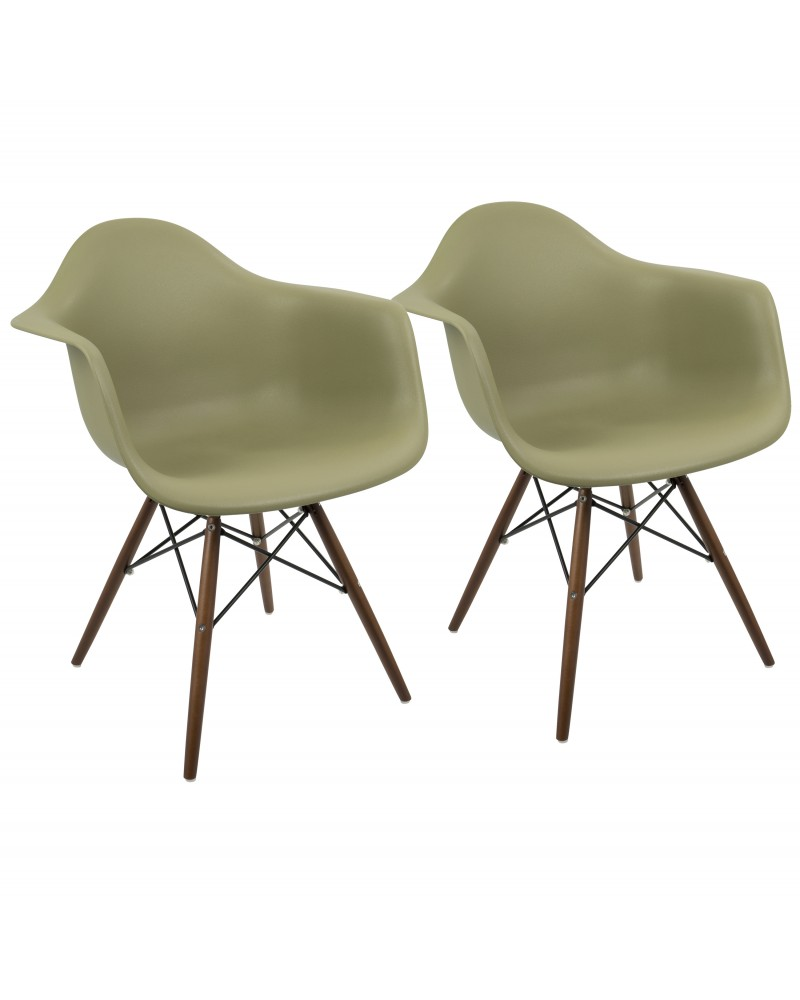 Neo Flair Mid-Century Modern Chair in Olive and Espresso - Set of 2