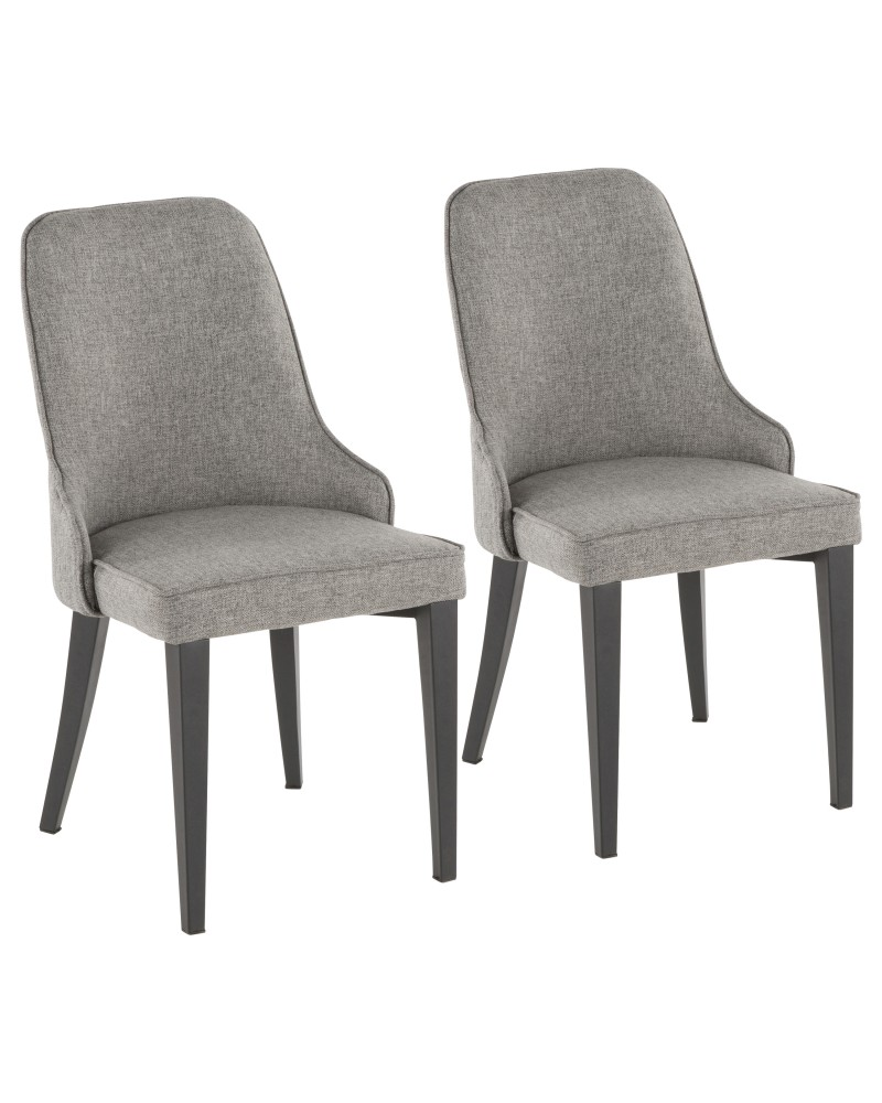 Nueva Contemporary Accent/Dining Chair in Black Metal and Grey Fabric - Set of 2