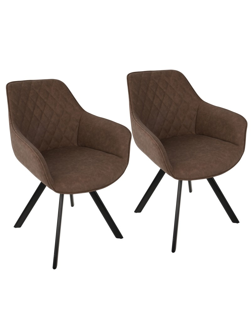Outlaw Industrial Dining/Accent Chair in Brown Faux Leather - Set of 2