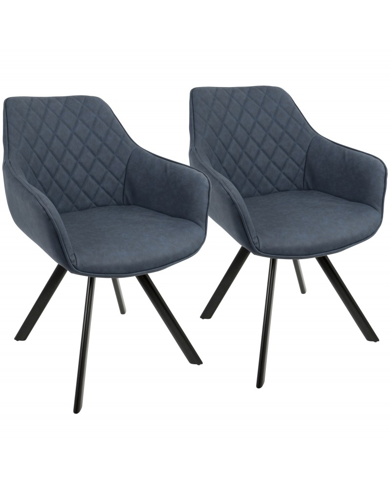 Outlaw Industrial Dining/Accent Chair in Blue Faux Leather - Set of 2