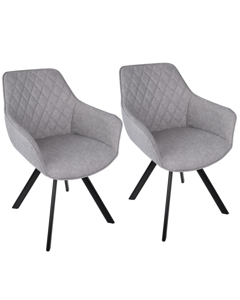 Outlaw Industrial Dining/Accent Chair in Grey Faux Leather - Set of 2