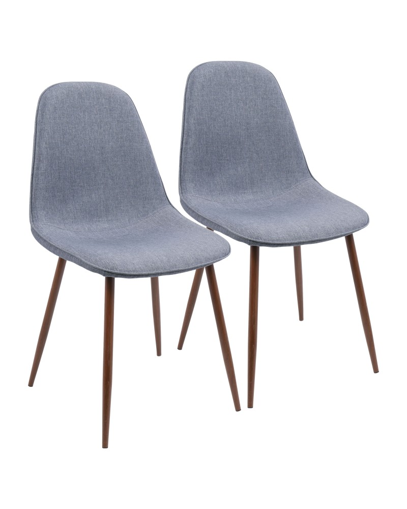 Pebble Mid-Century Modern Dining/Accent Chair in Walnut and Blue Fabric - Set of 2