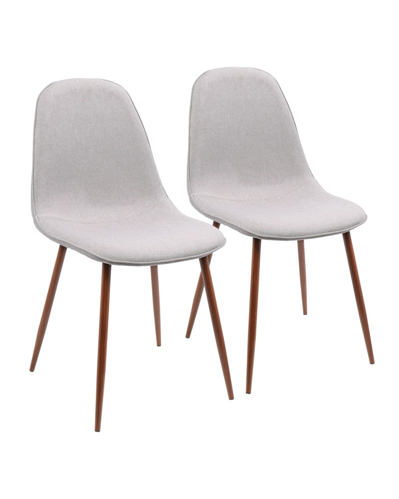 Pebble Mid-Century Modern Dining/Accent Chair in Walnut and Grey Fabric - Set of 3