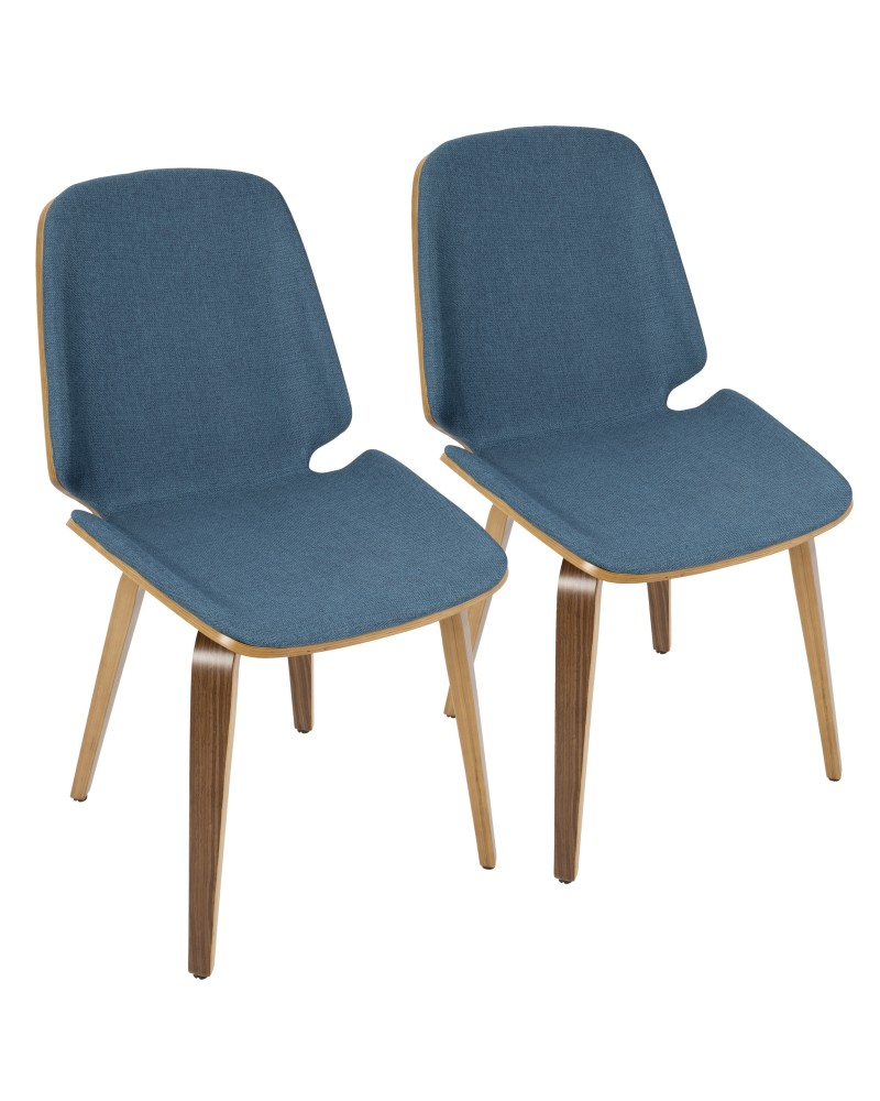 Serena Mid-Century Modern Dining Chair in Walnut with Blue Fabric - Set of 2